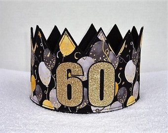 60th Birthday Crown Hat Gold Party Adult Crowns