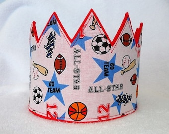 Sports Birthday Crown, Felt Birthday Crown, 1st Birthday Crown, Boys Birthday Hat, Kids Birthday Crown, Birthday Crown, Kids Crown