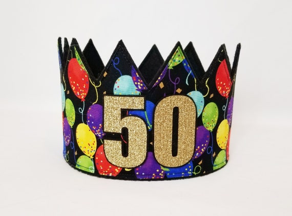 50th Birthday Hat Crown Adult Gold