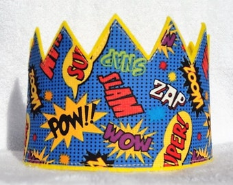 Birthday Crown, Felt Birthday Crown, Superhero Birthday Crown, Superhero Felt Birthday Crown, Birthday Party Hat, Kids Crown, Adult Crown
