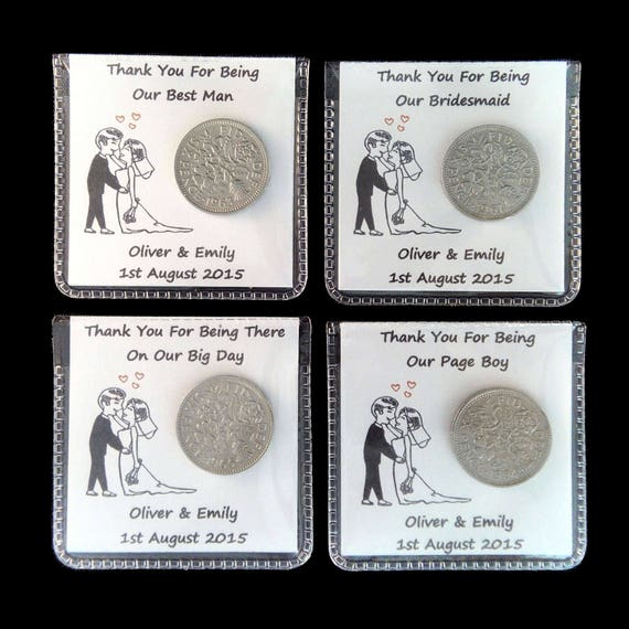PERSONALISED LUCKY SIXPENCE WEDDING PARTY FAVOUR THANK YOU GIFT KEEPSAKE GUESTS