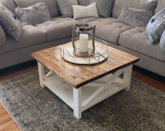 Square Farmhouse Coffee Table Etsy