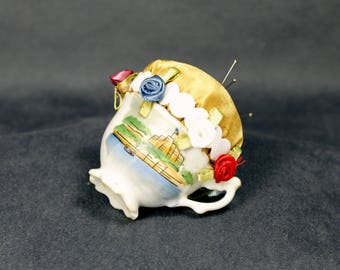 Pin Cushion in a Vintage Porcelain Cup
