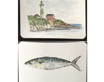Map postcard personalized original watercolor painting on the theme of Brittany: fish, Lighthouse.