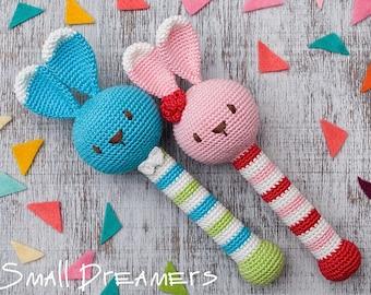 Bunny rattle Crochet rattle for girl Baby rattle toy Crochet toy Baby gift Organic teether Baby Shower gift Teething toy Newborn gift