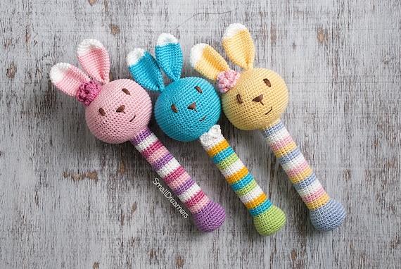Bunny Rassel Spielzeug Neugeborene Geschenk Gehäkelte Etsy