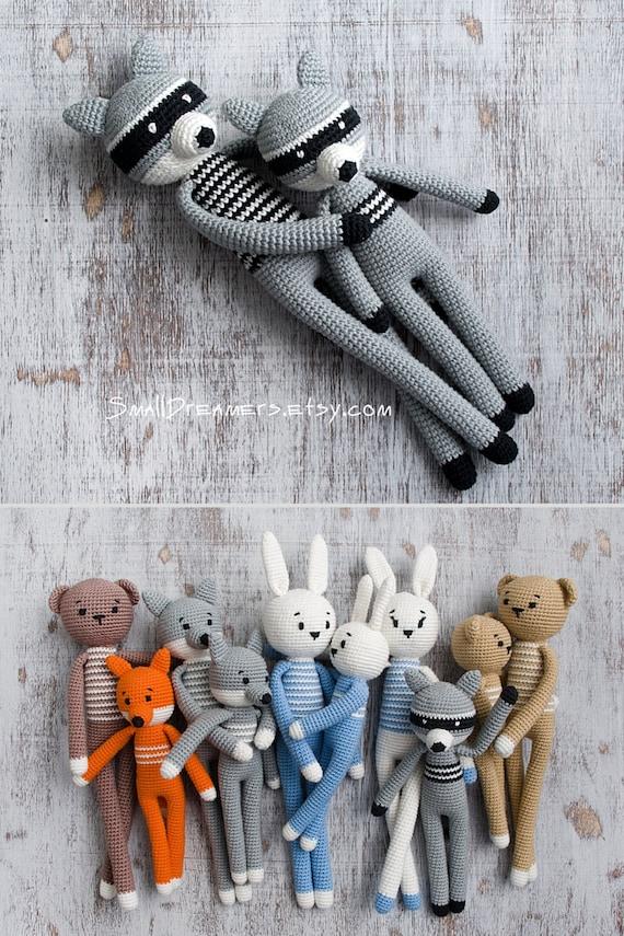 Kleine Waschbär Spielzeug Häkeln Grau Spielzeug Gefüllte Etsy
