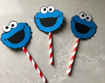 Cookie monster cupcake toppers