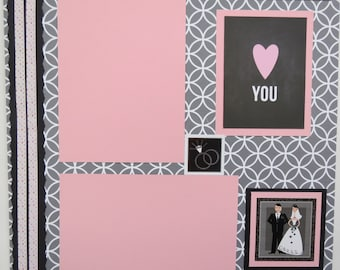 """Love to Last Forever 12x12"""" Premade Wedding Scrapbook Page"""