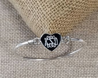 3-4 years Children's Sterling Silver Bangle Bracelet, Monogram Bracelet