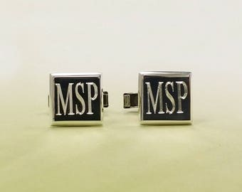 Sterling Silver Square Cuff link, Personalized Cuff link