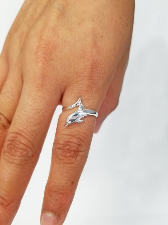 unusual Dolphin ring vintage adjustable ring antique ring silver ring inspiring ring silver ring sterling silver Dolphins ring
