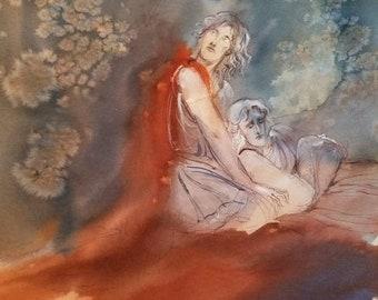 Death of Patroclus Original Painting Greek Mythology Homeric Poetry Pagan Heroic Myths Friend Soulmate Of Achilles Lost Fallen In Battle