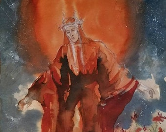 Slumber of Helios Original Painting Personification Of Grecian Sun God Departing At Night To Red Poppy Field Paradise Resting Place Elysium