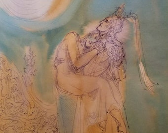 Asteria Original Painting Man Carrying Lady Beloved In His Arms Romantic Fairytale Couple Fantasy Lovers Elven Knight Mortal Woman Enchanted
