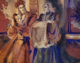 The Ambassador Original Painting Fantasy Realm Wizard Council High King Emperor And Courtiers Magical World Building Spells Enchantment Arts