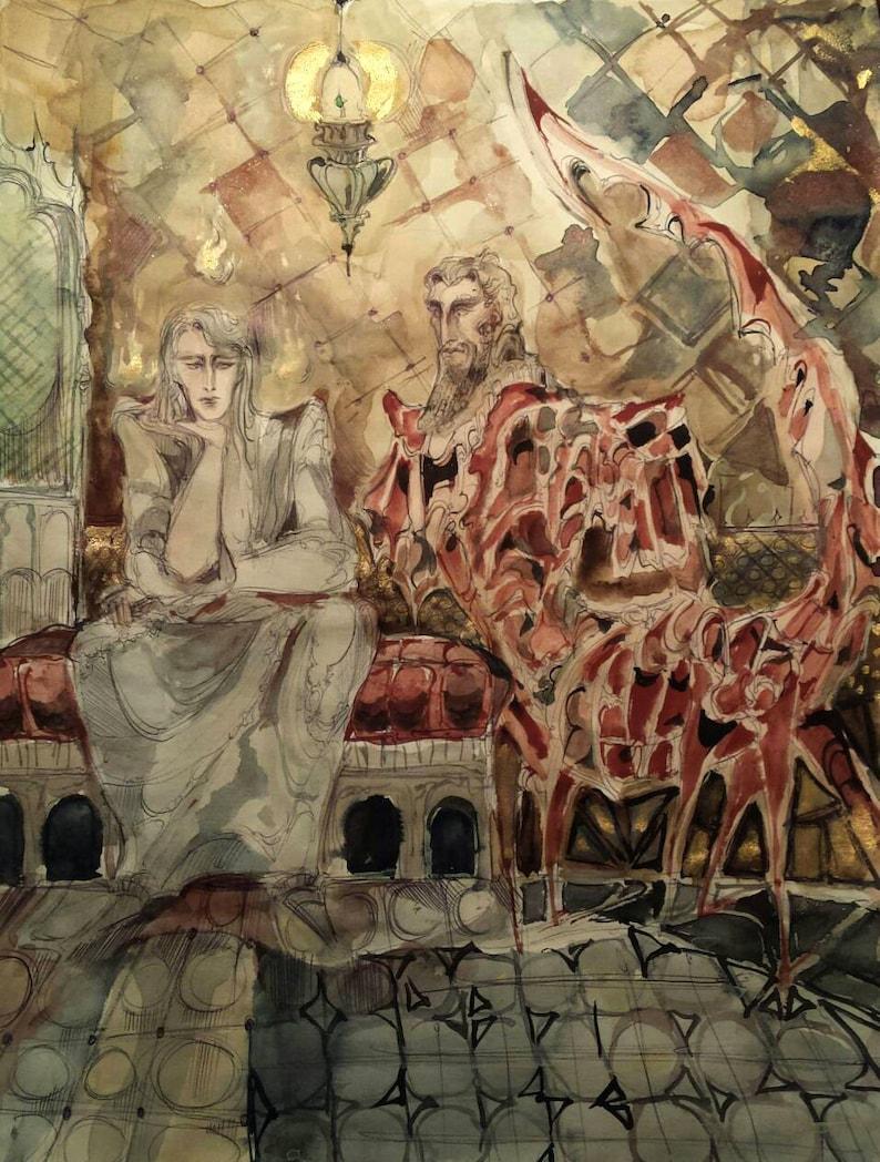 House of The Scorpion Original Painting King Sorcerer Scorpio Zodiac  Ancient Assyrian Spell Pagan Djinn Dieties Summoning Maze Minotaur Art