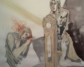 Time Worshippers Behind the Moon Original Surrealist Painting Bizarre Fantasy Dreamscape Grandfather Clock Androgynous Figures Drawing Imps