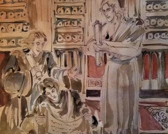 Lost Library of Alexandria Original Painting Philosophers Scholars Reading Ancient Scrolls Looking At Manuscripts Macedonian Greek Egyptian