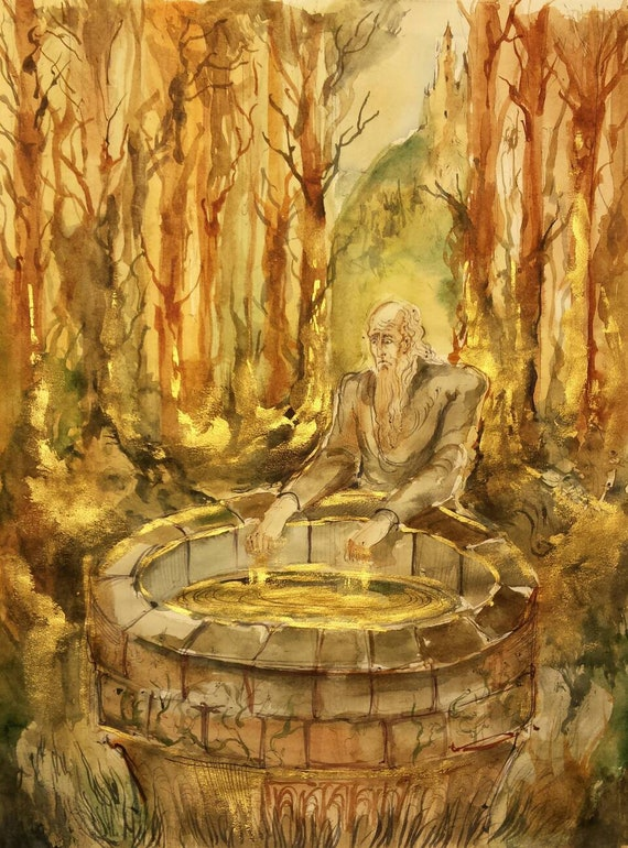 Old Man and the Holy Well Original Painting Folklore Art Ancient Woods  Magic Healing Waters Immortality Secret Woodland Path Alchemist Spell