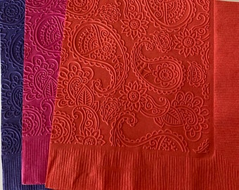 Paisley Napkin ~ Embossed Paper Napkin ~ Wedding ~ Bridal Shower ~ Engagement Party ~ Anniversary ~ Birthday ~ Paisley ~ Beverage ~ Cocktail