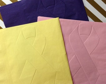 Cancer Ribbon Napkins ~ Embossed Paper Napkin ~ Breast Cancer ~ Pink Ribbon ~ Cancer Awareness ~ Relay for Life ~ Luncheon ~ Napkins