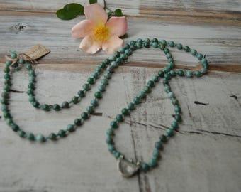 Knotted 108 Mala Beads ~ Australian Bloodstone | 108 mala necklace | long knotted mala beads | yoga meditation beads | knotted prayer beads