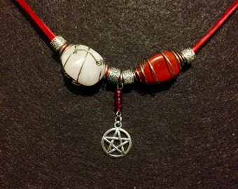 Rose Quartz and Red Jasper Necklace w/Pentacle MWCRQRJ001