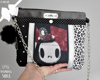 black gothic bag - gothic doll shoulder bag - suede and cotton, little inspiring soul, tote bag, skellington gothic bag