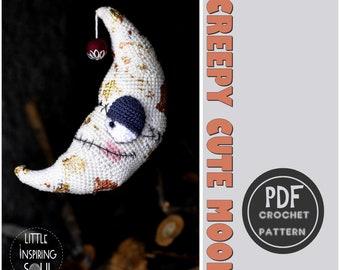 amigurumi crescent moon - PDF crochet pattern - Creepy cute moon - gothic moon - crochet tutorial - Little Inspiring Soul