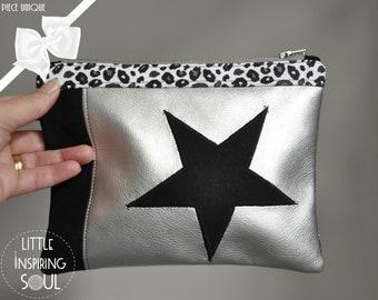 silver star flat kit - makeup kit - little inspiring soul - star-studded storage pouch