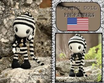 gothic doll  amigurumi  - ENGLISH PDF digital pattern
