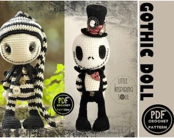 gothic doll  amigurumi - jack skellington - PDF digital crochet pattern- Little Inspiring Soul
