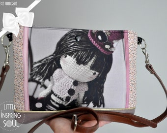 Besace steampunk - bag that inspires - flat kit or steampunk doll strap unique little inspiring soul handbag