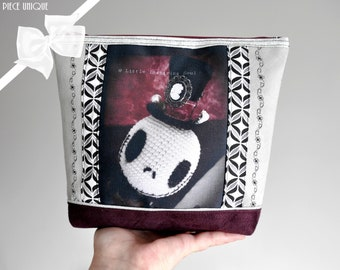 Zip kit gothic doll skellington- makeup bag in suede- gift for her - little inspiring soul