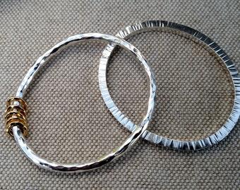 Hammered Stripes Bangle Bracelet