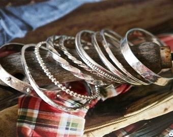 Round Hammered Bangle Bracelet