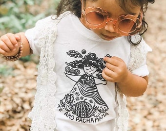 Mother Earth Shirt, Pachamama, Nature kids Shirt, Boho girl top, Earth day shirt, Hippie child, Vegan kids, Te amo pachamama, Spring gift