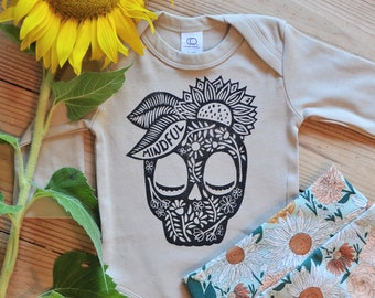 Organic Cotton Bodysuit, Calavera baby outfit, Hippie Baby, Halloween baby outfit, Day of the Dead baby gift, Yoga baby, Sunflower bodysuit