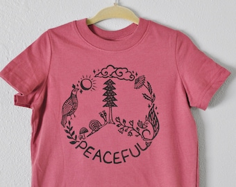 Peaceful Forest tee, Hippie kids clothes, Vegan shirt, Eco Friendly clothes, Camping shirt, peace shirt, Forest shirt, Fall kids clothes