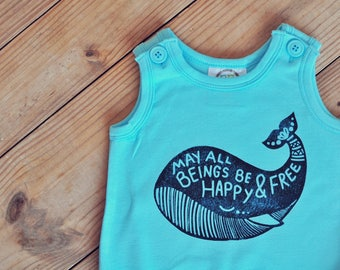 Whale Romper, Summer romper, Bohemian romper, Hippie romper, Baby Yoga Clothes, Hipster baby romper, Beach baby outfit, Bubble romper