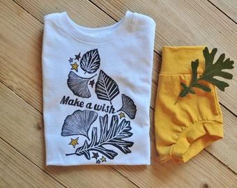 Fall Kids Shirt, Make a wish, Fall birthday gift, Kids birthday shirt, Stars shirt, Leaves shirt, Boho kids, Fall colors, Hippie kids