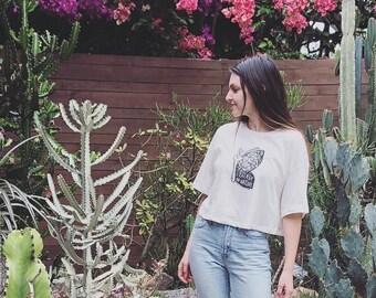 Moth Shirt, Women's Crop top, Boxy shirt, Boho top, Moon shirt, Nature shirt, Wanderlust shirt, oversized top, Mother's day gift, Yoga gift
