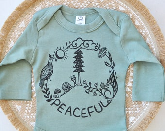Peace bodysuit, Organic Cotton, Fall baby gift, Yoga baby gift, Long Sleeve onepiece, Hippie Baby, Gender neutral, Nature baby, Forest baby