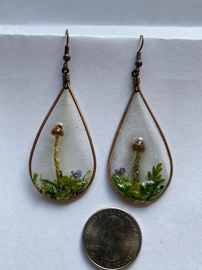 Large Real Mushroom /& Moss Earrings