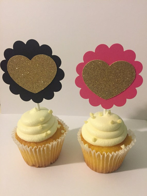Pink Black And Gold Cupcake Toppers Etsy