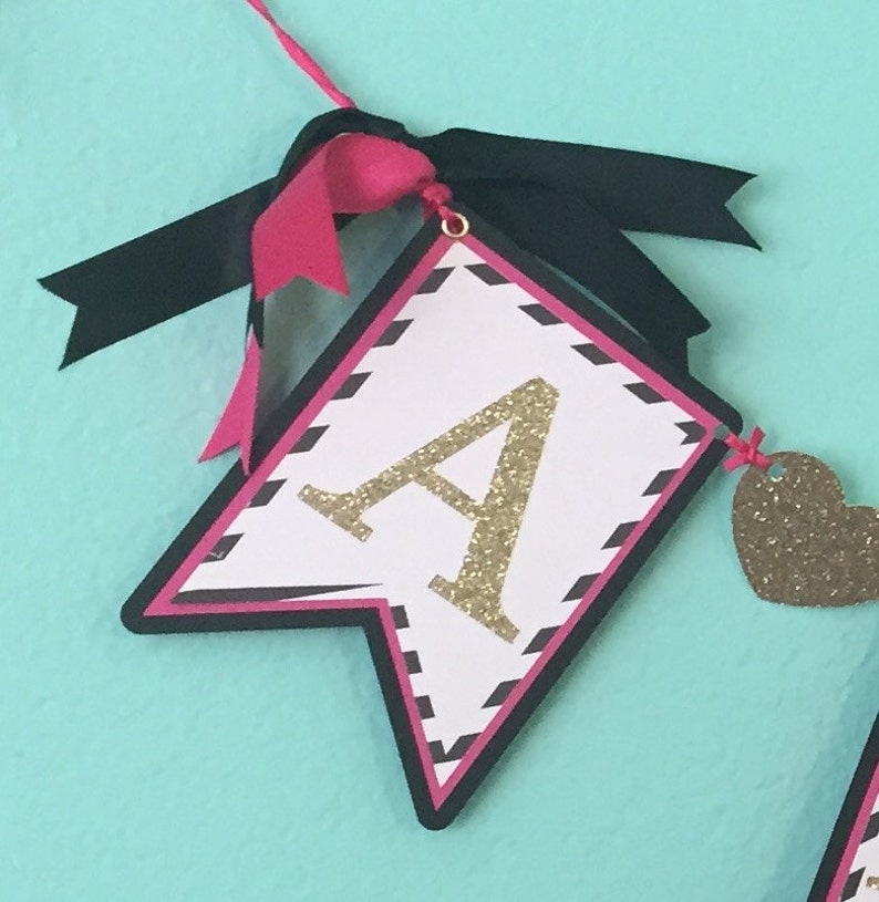black and gold heart name banner Pink