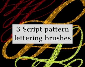3 script lettering patterned brushes. procreate. ipad pro. hand lettering.brush pack.