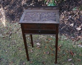 Antique Carved English Oak Ladies Lift Top Writing Desk