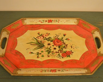 Gorgeous Vintage Red Rose Serving Tray
